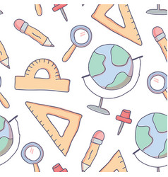 Cute seamless pattern with doodle school supplies vector