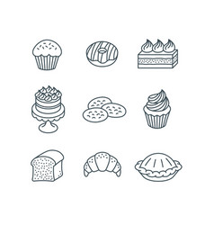 different sweet pastry items simple linear icons vector image