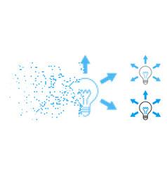 Disintegrating pixel halftone idea bulb icon vector