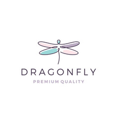 dragonfly logo line outline monoline icon vector image