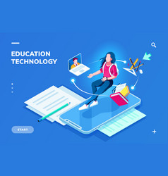Education technology page for smartphone page vector