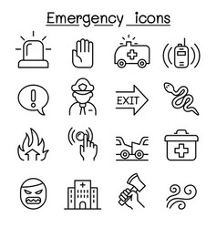 emergency icon set in thin line style vector image