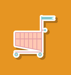 Fashion patch sale sticker shopping cart black vector