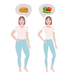 Fat and slim women vector