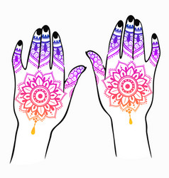 Female hands with indian mehendi tattoo vector