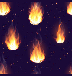 fire flame hot burn seamless pattern vector image