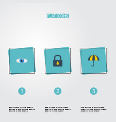 flat icons padlock parasol vision and other vector image