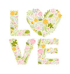 floral summer word love flower capital wedding vector image