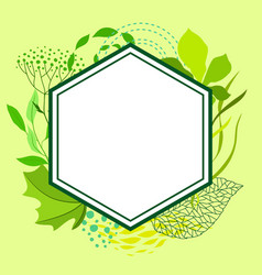 frame of stylized green leaves for greeting cards vector image