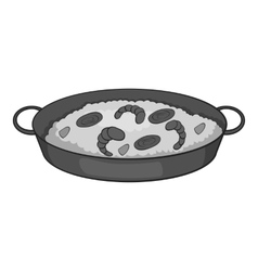 Frying pan with rice and shrimp icon vector image