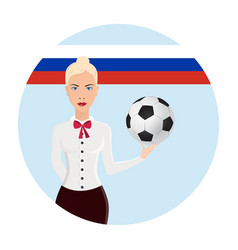 girl holding a soccer ball logo soccer cup on vector image