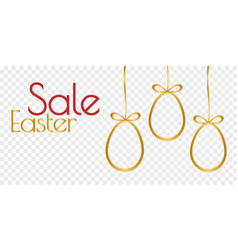 golden eggs silhoette and easter sale phrase vector image