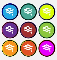 Graduation icon sign Nine multi colored round vector