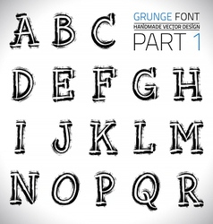 Grunge hand made font vector