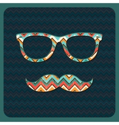 Hipster Icon with Geometric Grunge Background vector image