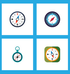 Icon flat compass set of divider instrument vector