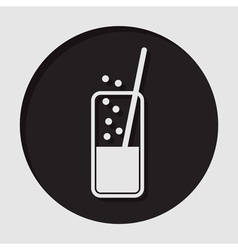 Icon - glass with carbonated drink and straw vector