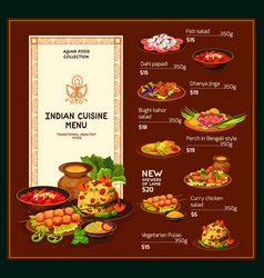Indian cuisine dishes traditional meal menu vector