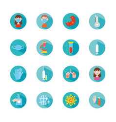 infected lungs and coronavirus icon set block vector image