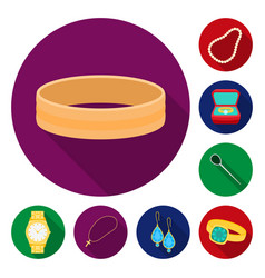 jewelry and accessories flat icons in set vector image