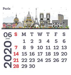 june 2020 calendar template with paris city vector image