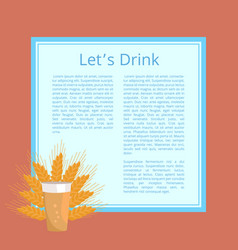 Lets drink pint of beer poster beverage in glass vector