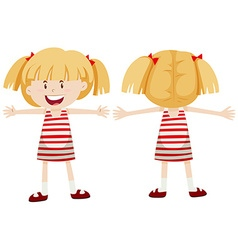 Little girl with front and back view vector