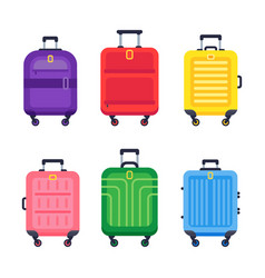 luggage suitcase airport travel baggage colorful vector image