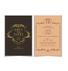 luxury wedding invitation template vintage style vector image
