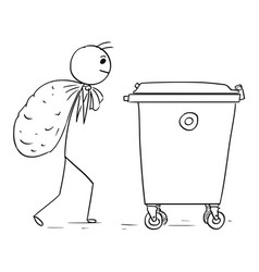 Man carry large bag of waste to throw it in waste vector