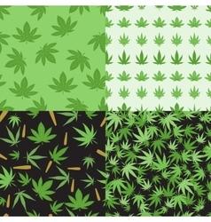 Marijuana background set seamless patterns vector image