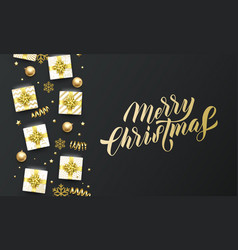 merry christmas golden lettering text black vector image