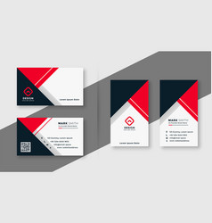 modern red geometric business card template vector image