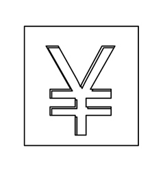 monochrome contour with currency symbol of china vector image