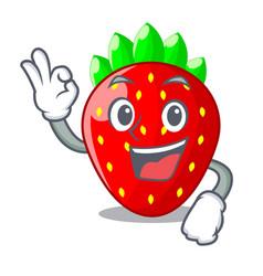 Okay strawberries fruit in wooden bowl cartoon vector
