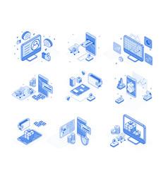 online marketing service isometric 3d design set vector image