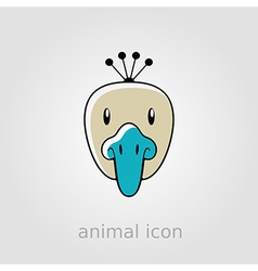 Peacock flat icon Animal head vector