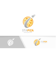 pizza and rocket logo combination food and vector image