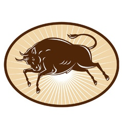 Raging bull attacking woodcut style vector