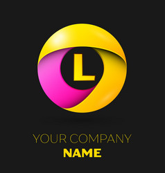 Realistic letter l logo in colorful circle vector