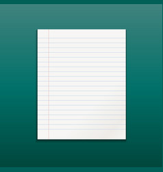 realistic line paper note on green background vector image