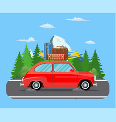 road travel trailer driving on forest area road vector image
