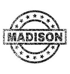 Scratched textured madison stamp seal vector