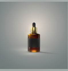 serum essence bottle with dropper and black label vector image