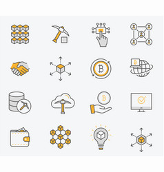Set blockchain icons editable stroke vector