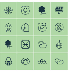 Set of 16 ecology icons includes home ocean wave vector