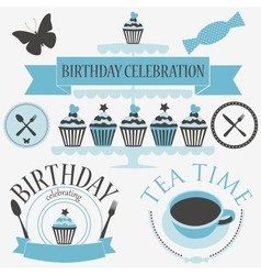 Set of birthday icons vector