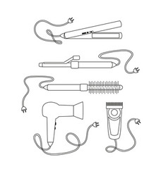 set of contour hair dryers on a white background vector image
