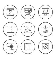 Set round line icons laser cutting vector