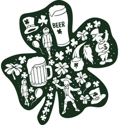 set with leprechauns dansing girls beer and clover vector image
